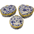 Blue Print Ceramic Jewelry Box Set L