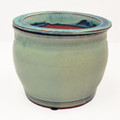 "8"" Round Self Water Pot Ocean Blue"