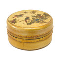 Leather Round Stamp Box White