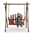 Bear and Cubs on Porch Swing Garden Sculpture