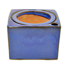 "5"" Sq Self Water Pot Falling Blue"