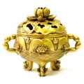 Bronze Gold Lotus Incense Burner