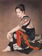 Tattoo Japanese Lady Wall Scroll Tapestry R44
