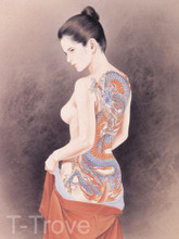 Tattoo Japanese Lady Wall Scroll Tapestry Q8