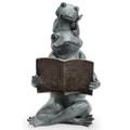 Eager Frog Readers Garden Sculpture