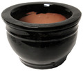 "8"" Rd Self Water Pot Falling Black"