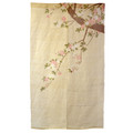 Cherry Blossoms on Branch Yellow Linen Noren Curtain