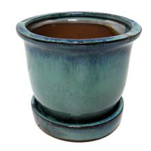 Ceramic Bell Flower Planter with Saucer - Ocean Green