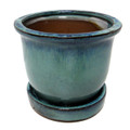 Ceramic Bell Flower Planter with Saucer - Ocean Green