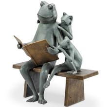 Reading Frog Family Outdoor Garden Sculpture