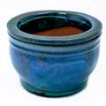 "5"" Round Ceramic Self Water Pot Caribbean Sea Blue"