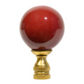 Asian Ox Blood Red Porcelain Ball Lamp Finial