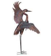 """Outdoor metal 48"""" Dancing Heron with Copper Patina Finish"""