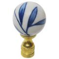 Blue & White Bamboo Leaf Porcelain Ball Finial