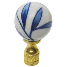 Blue & White Bamboo Leaf Porcelain Ball Finial