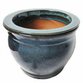 "8"" Round Ceramic Self Water Pot Caribbean Blue Stream"