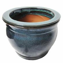 "8"" Round Ceramic Self Water Pot Caribbean Blue Stream"