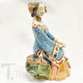 Porcelain Shanghai Lady In Blue Folded Hand Sitting on Stone