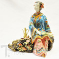 Porcelain Shanghai Lady Having Tea on a Stump