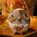 Granite Red Owl with Heart 9cm