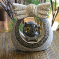 Granite Owl in Basket Black 15cm