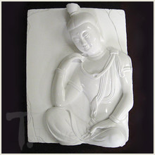 Quan Yin Deep in Thought White Porcelain Tile