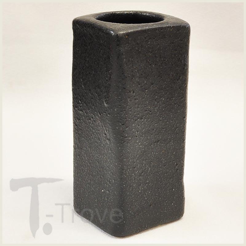 Black Rectangular Japanese Ceramic Vase