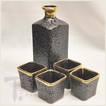 24 Karat Gold and Black Sake Set