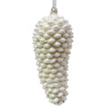 "7.5""L white pine cone glass ornament with silver accent"