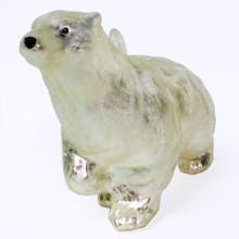 Glass Polar Bear Ornament in Silvery White