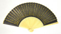Heart Sutra Gold Black Fan
