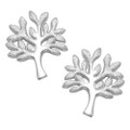 Sterling Silver Sparkling Frost finish (Matt)Tree of life Earrings - Yggdrasil stud earrings - size: 14mm x 11mm. 5396