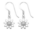 Sterling Silver Sunflower drop Earrings - Size: 10mm (24mm including wires).. 1.9 grams. 6106