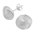 Sterling Silver Wool knot stud Earrings - SIZE:  13mm x 12mm. 2.3gms.  5199