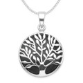 Sterling Silver Tree of Life Pendant - 20mm (27mm inc. ring & top) - Onyx tree of life 8397ON  - Excluding chain
