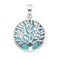 Sterling Silver Tree of Life Pendant - 20mm (27mm inc. ring & top) - Turquoise shell Tree of life Pendant 8397TQ  - Excluding chain