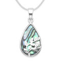 Sterling Silver Paua shell Teardrop Tree of Life Pendant 13mm x 20mm (28mm - inc bail)  - Excluding chain. 8398PS