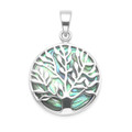 Sterling Silver Tree of Life Pendant - 20mm (27mm inc. ring & top) - Paua shell Tree of life Pendant 8397PS - Excluding chain