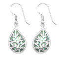 Teardrop Tree of Life Earrings - Paua shell. 7399PS - Size: 18mm x 11mm. 7399PS