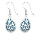 Teardrop Tree of Life Earrings - Turquoise (recon.) Size: 18mm x 11mm. 7399TQ