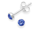 Sterling Silver Blue Cubic Zirconia Earrings - round Stud Earrings with silver surround. Size: 4.5mm 5554DB