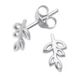 Sterling Silver Leaf Stud Earrings - SIZE: 8mm x 5mm.   5242