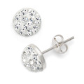 Sterling Silver, Crystal half ball stud 12mm, many tiny crystals - 4605CL