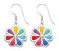 Sterling Silver Rainbow Daisy flower Earrings - Rainbow Enamel Earringss- SIZE: 12mm (26mm with earring wires)7379