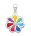 Sterling Silver Rainbow Daisy flower Pendant - Rainbow Enamel Pendant - Excluding chain -SIZE: 20mm (30mm with pendant top) 8379