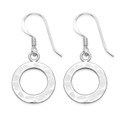 Sterling silver Hammered finish Earrings - planished polo shaped drop Earrings - SIZE: 13mm. 6348
