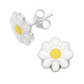 Sterling Silver daisy earrings - yellow and white enamel daisy Studs. Size: 10mm. 5776