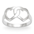 Silver double hearts Ring 1163