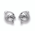 Solid Sterling Silver Dolphin Stud Earrings - Size: 7mm - weight: 1.2gms. 5063