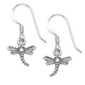 Sterling Silver Dragonfly Tiny Drop Earrings -  SIZE: 8mm (22mm including wires) 6016